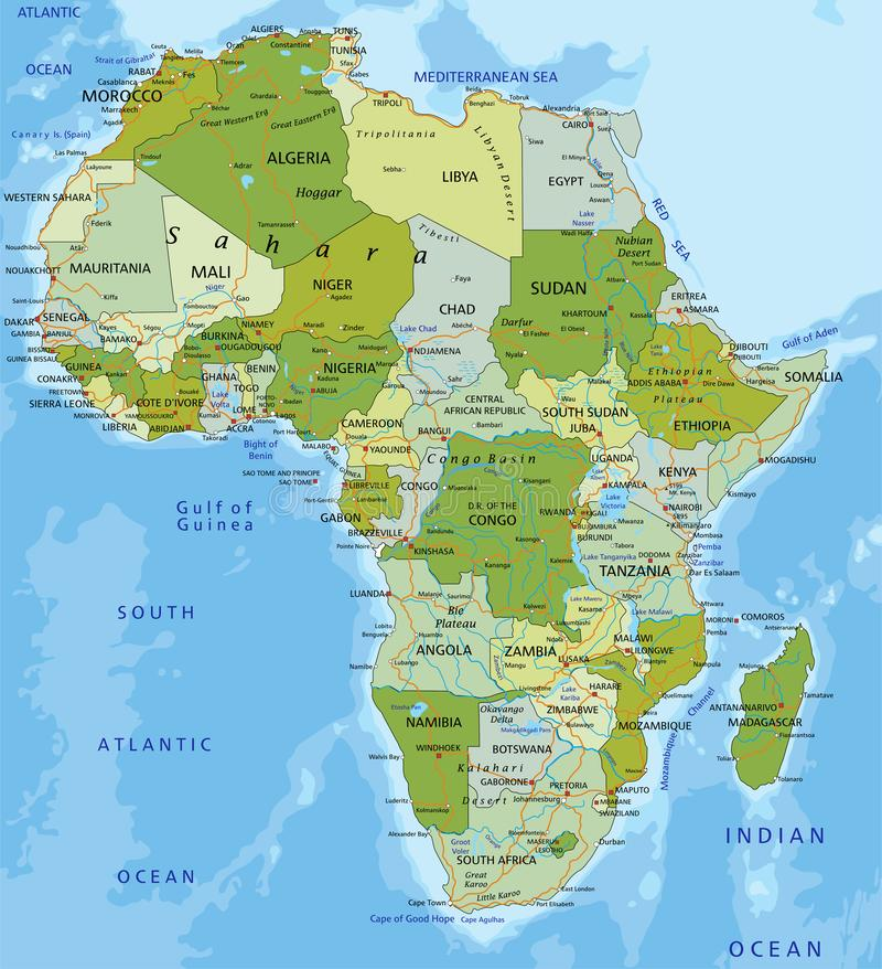 Mapa político editable altamente detallado con capas separadas África stock de ilustración