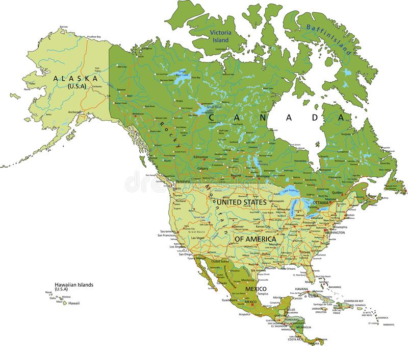 Mapa político editable altamente detallado con capas separadas stock de ilustración
