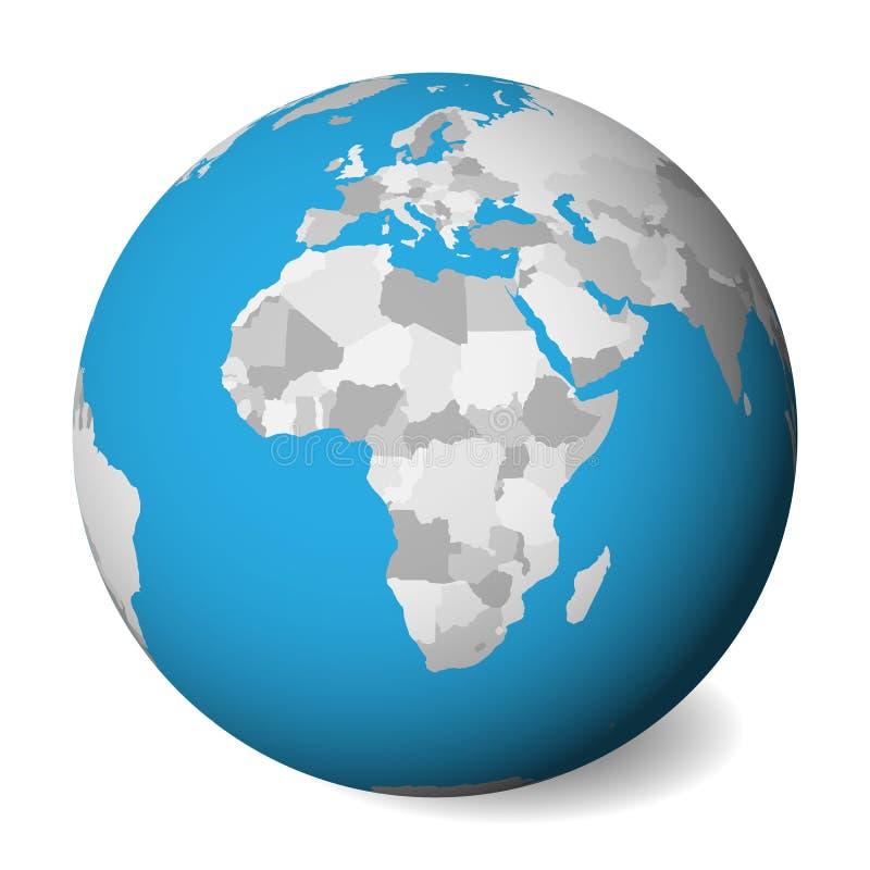 Mapa político en blanco de África globo de la tierra 3D con agua azul y las tierras grises Ilustración del vector ilustración del vector