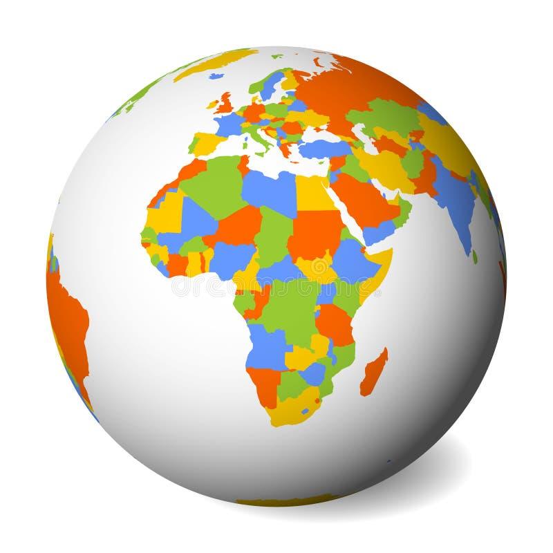 Mapa político en blanco de África globo de la tierra 3D con el mapa coloreado Ilustración del vector stock de ilustración