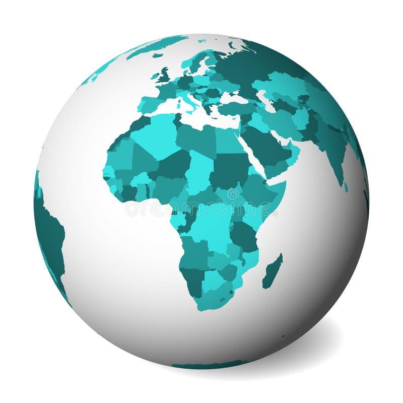 Mapa político en blanco de África globo de la tierra 3D con el mapa de los azules turquesa Ilustración del vector libre illustration