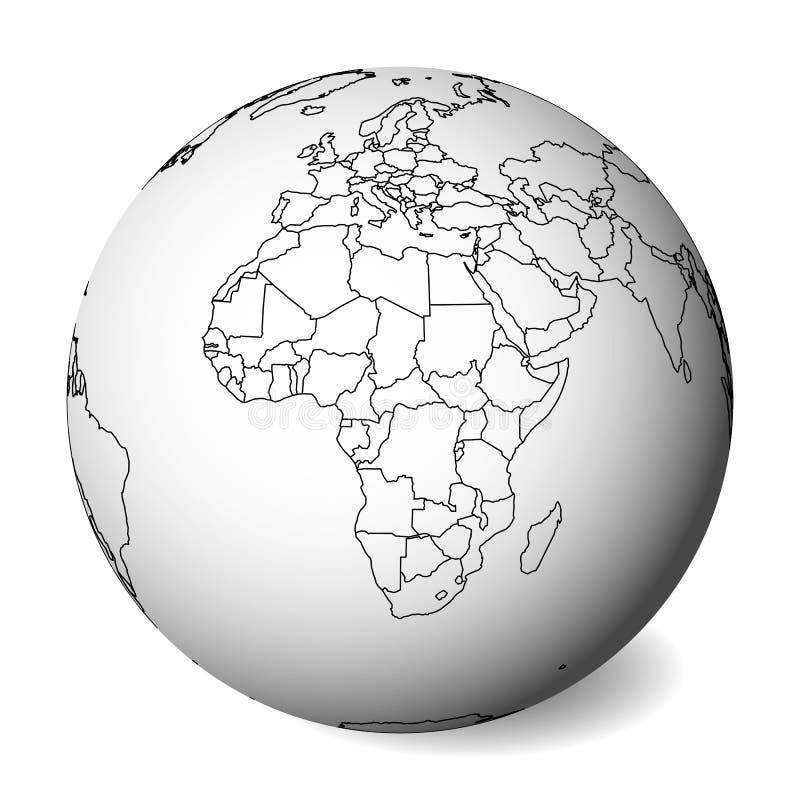 Mapa político en blanco de África globo de la tierra 3D con el mapa negro del esquema Ilustración del vector ilustración del vector