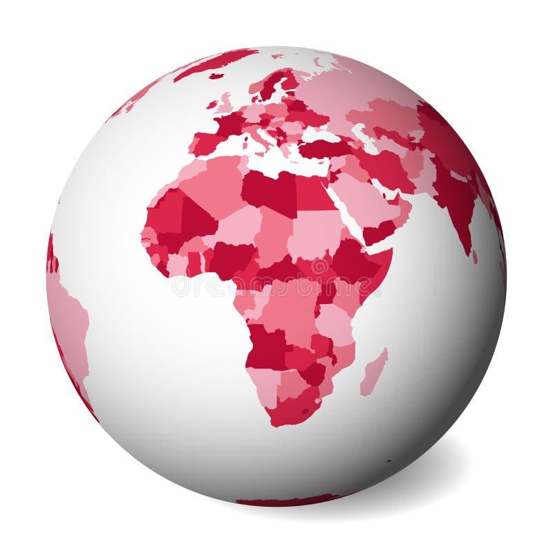 Mapa político en blanco de África globo de la tierra 3D con el mapa rosado Ilustración del vector libre illustration