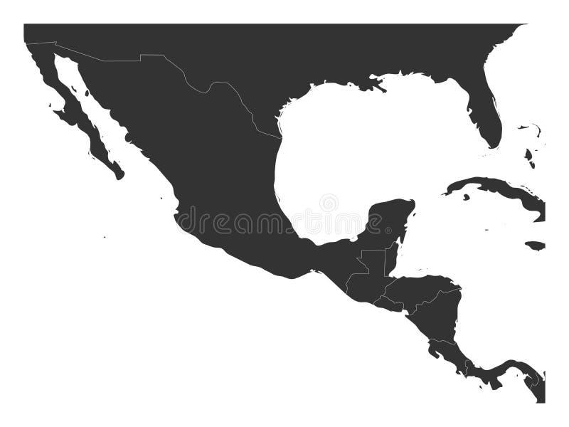 Mapa político en blanco de America Central y de México Ejemplo gris oscuro simple del vector ilustración del vector
