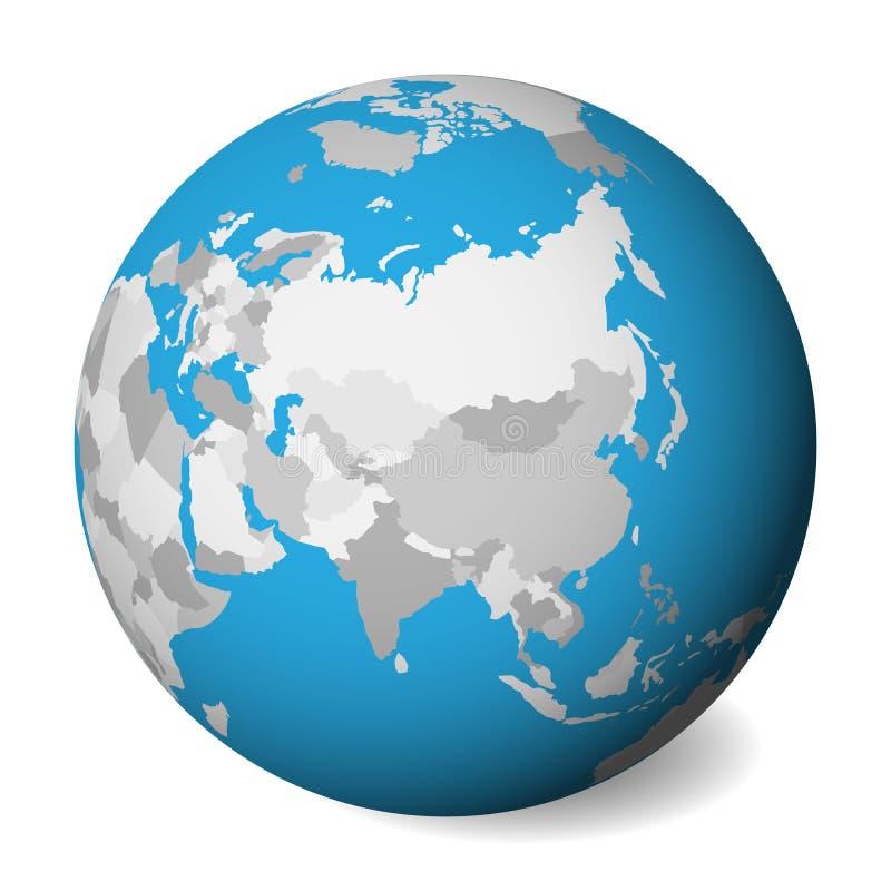 Mapa político en blanco de Asia globo de la tierra 3D con agua azul y las tierras grises Ilustración del vector libre illustration