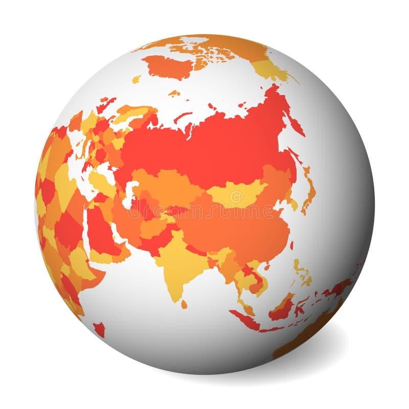Mapa político en blanco de Asia globo de la tierra 3D con el mapa anaranjado Ilustración del vector stock de ilustración