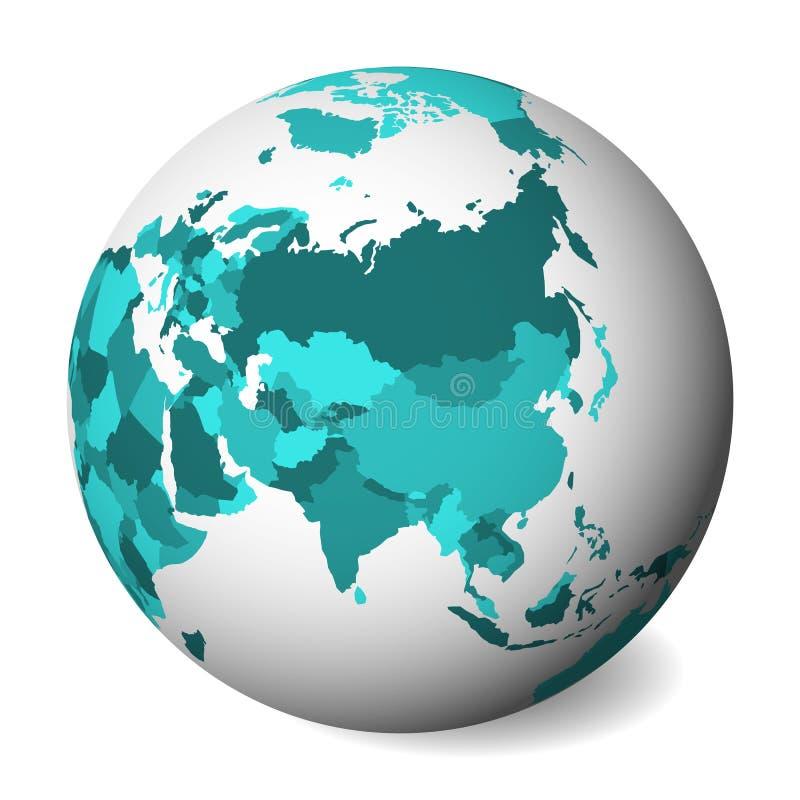 Mapa político en blanco de Asia globo de la tierra 3D con el mapa de los azules turquesa Ilustración del vector stock de ilustración