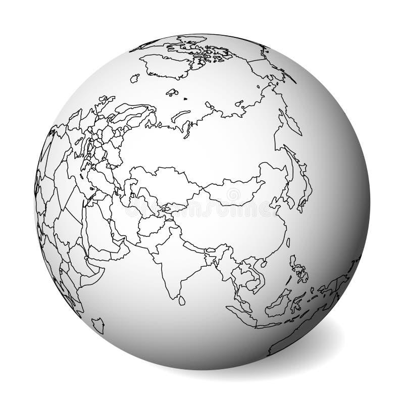 Mapa político en blanco de Asia globo de la tierra 3D con el mapa negro del esquema Ilustración del vector ilustración del vector