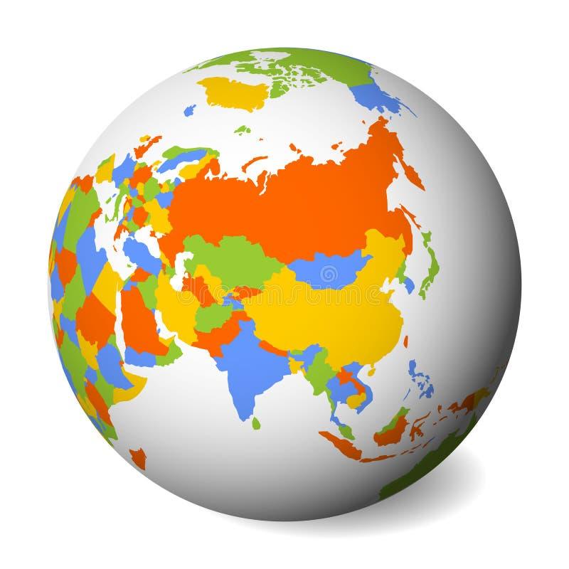 Mapa político en blanco de Asia globo de la tierra 3D con el mapa negro del esquema Ilustración del vector stock de ilustración