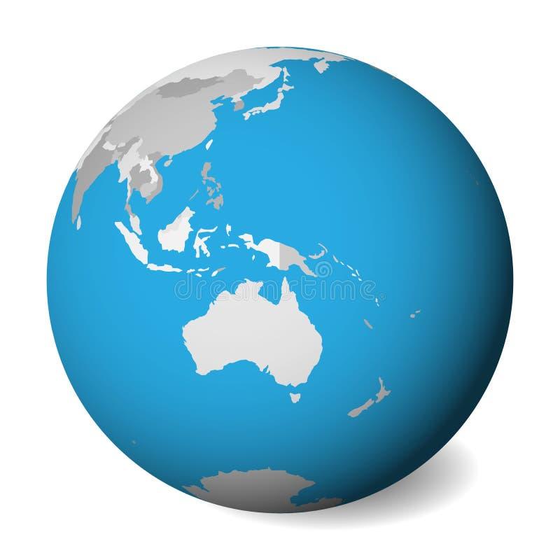 Mapa político en blanco de Australia globo de la tierra 3D con agua azul y las tierras grises Ilustración del vector stock de ilustración