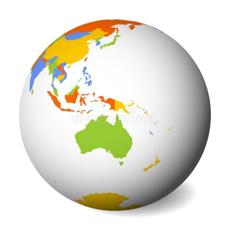 Mapa político en blanco de Australia globo de la tierra 3D con el mapa coloreado Ilustración del vector stock de ilustración