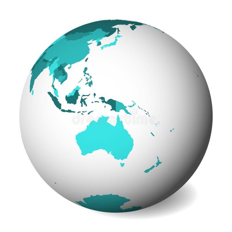Mapa político en blanco de Australia globo de la tierra 3D con el mapa de los azules turquesa Ilustración del vector libre illustration