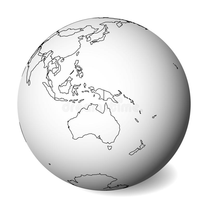 Mapa político en blanco de Australia globo de la tierra 3D con el mapa negro del esquema Ilustración del vector ilustración del vector