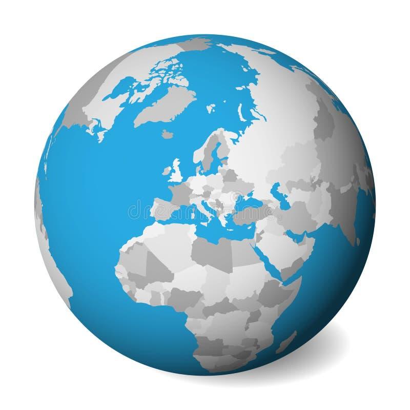 Mapa político en blanco de Europa globo de la tierra 3D con agua azul y las tierras grises Ilustración del vector stock de ilustración