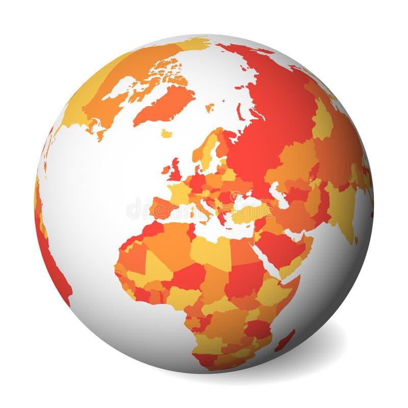 Mapa político en blanco de Europa globo de la tierra 3D con el mapa anaranjado Ilustración del vector ilustración del vector