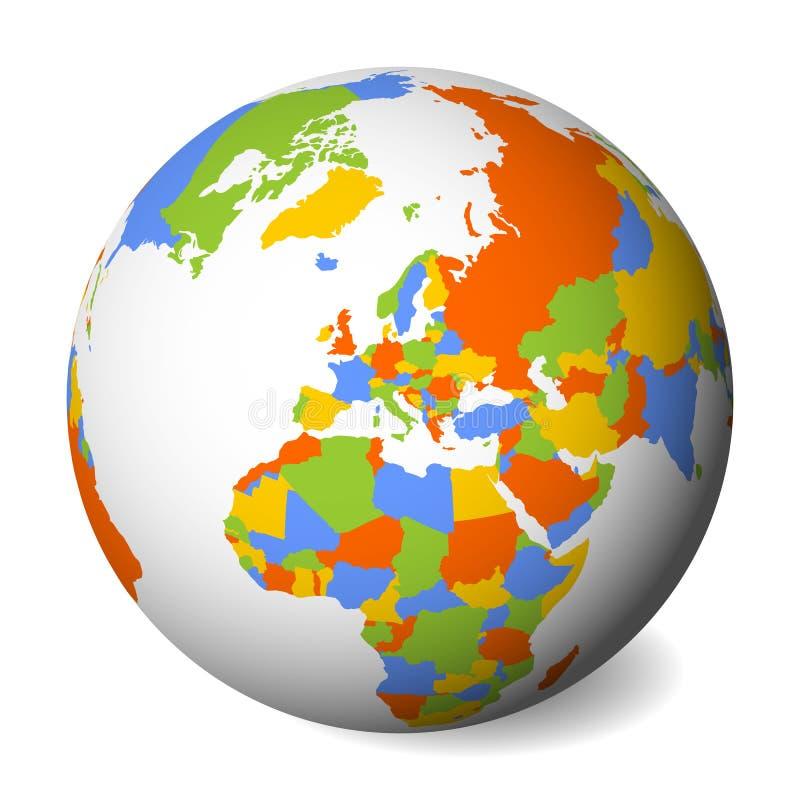 Mapa político en blanco de Europa globo de la tierra 3D con el mapa coloreado Ilustración del vector stock de ilustración