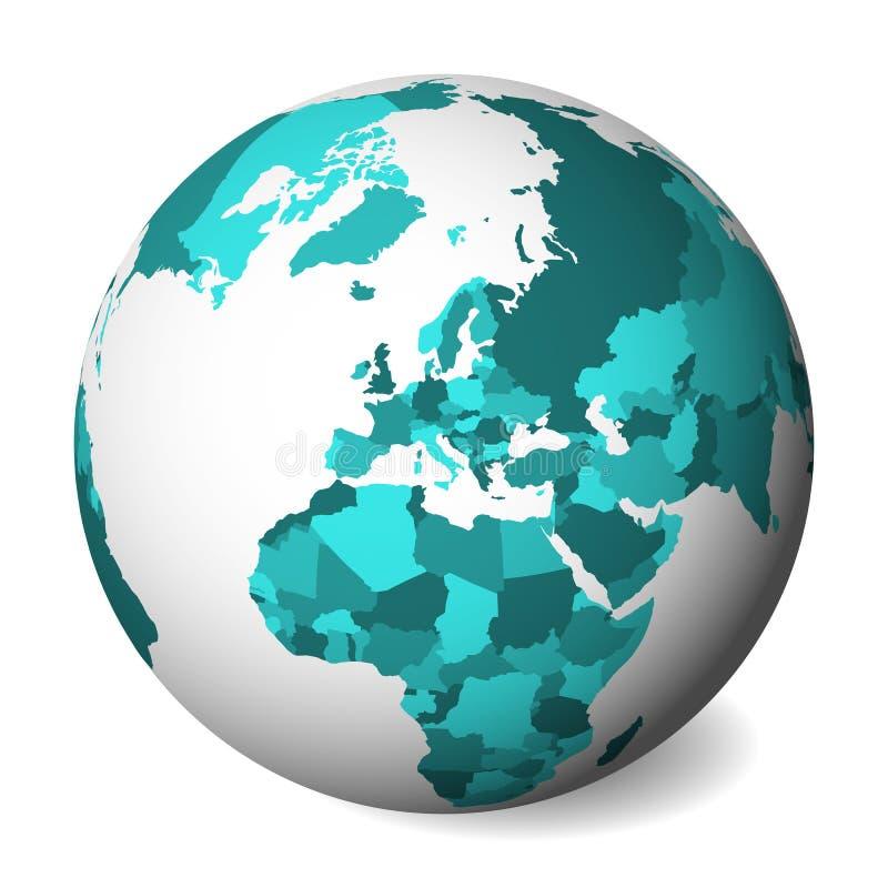 Mapa político en blanco de Europa globo de la tierra 3D con el mapa de los azules turquesa Ilustración del vector libre illustration