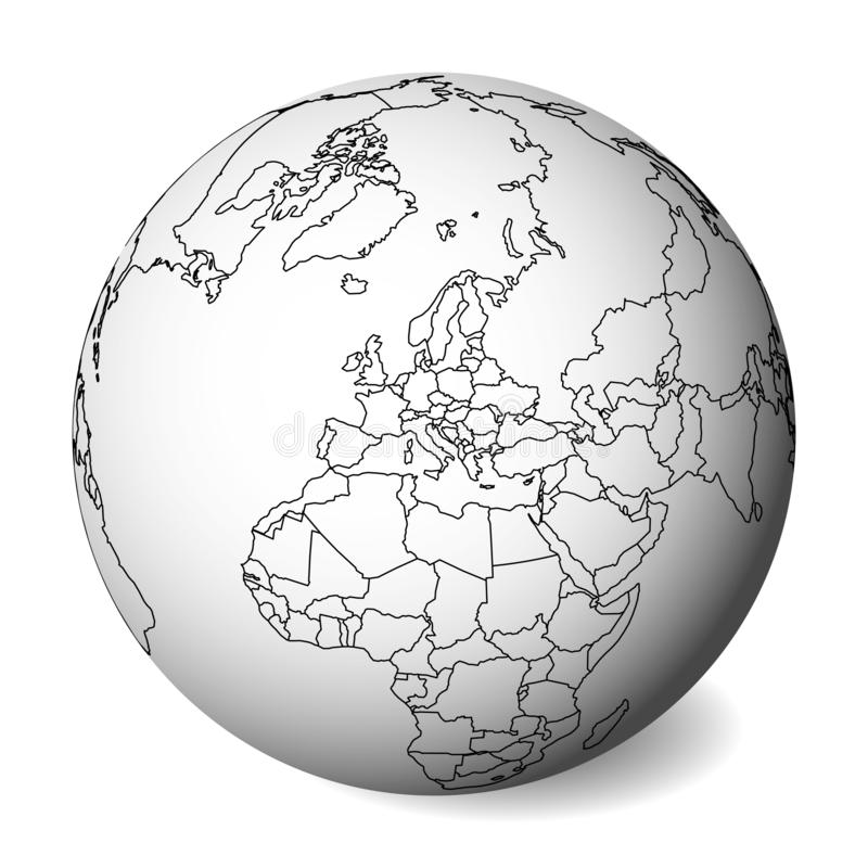 Mapa político en blanco de Europa globo de la tierra 3D con el mapa negro del esquema Ilustración del vector ilustración del vector