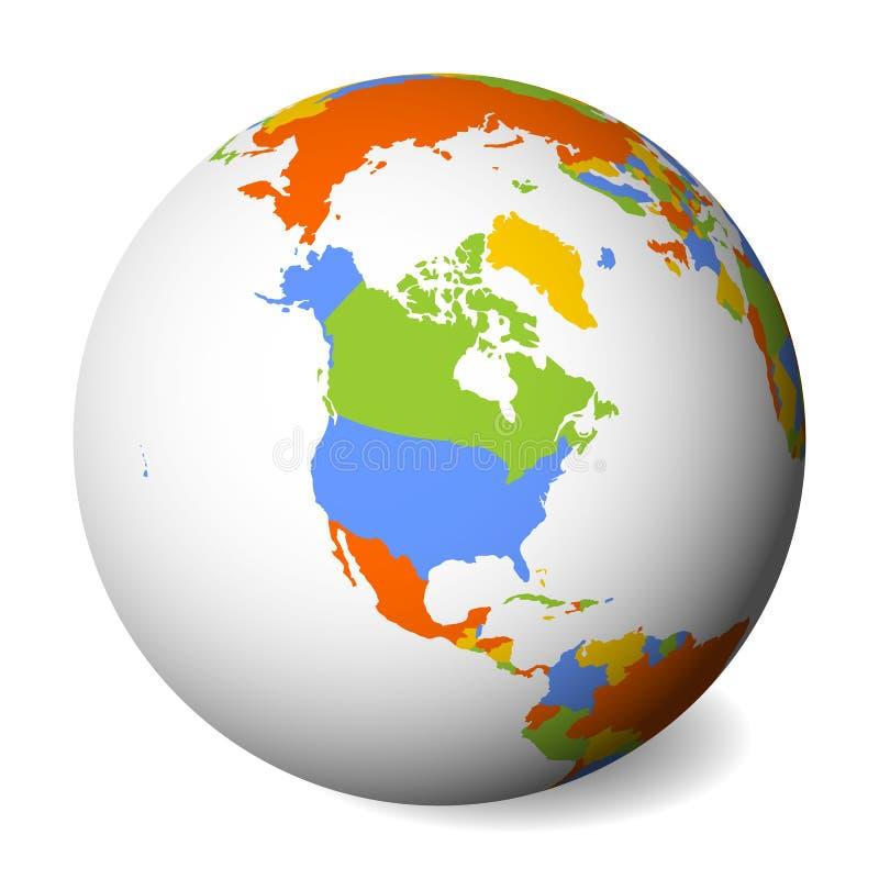 Mapa político en blanco de Norteamérica Globo de la tierra con el mapa coloreado Ilustración del vector libre illustration
