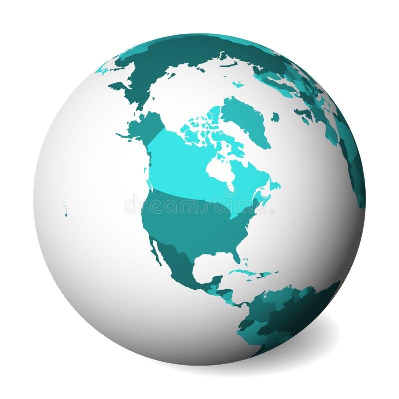 Mapa político en blanco de Norteamérica globo de la tierra 3D con el mapa de los azules turquesa Ilustración del vector stock de ilustración