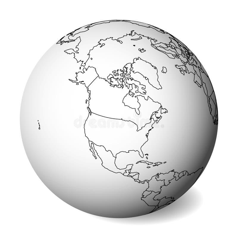 Mapa político en blanco de Norteamérica globo de la tierra 3D con el mapa negro del esquema Ilustración del vector stock de ilustración