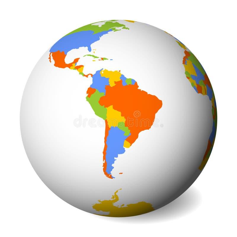 Mapa político en blanco de Suramérica Globo de la tierra con el mapa coloreado Ilustración del vector stock de ilustración
