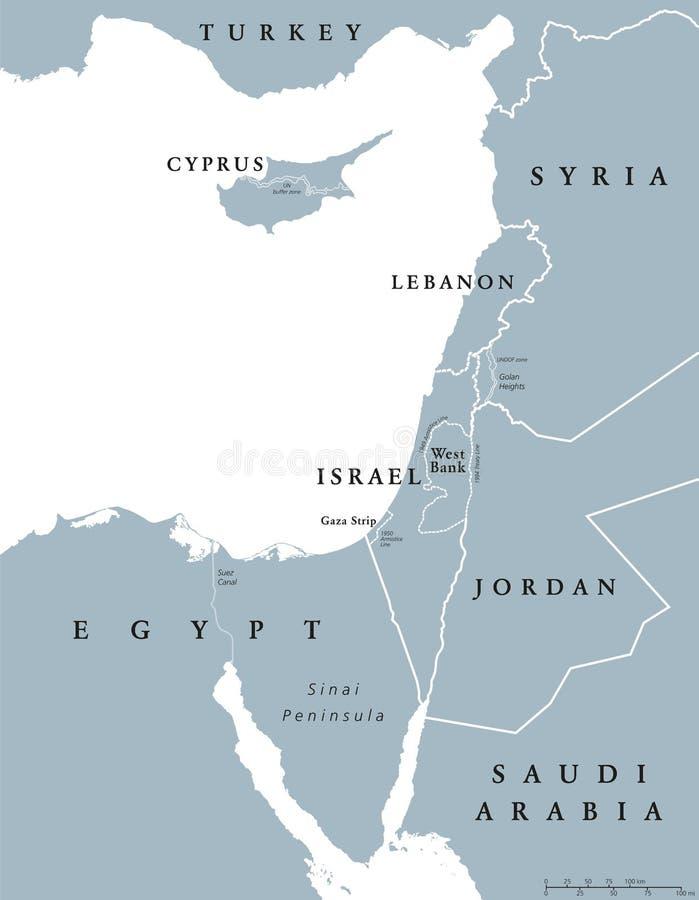 Mapa político oriental dos países mediterrâneos ilustração stock