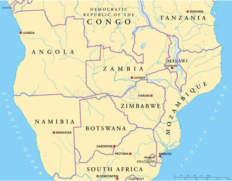 Mapa político Sul-central de África ilustração do vetor