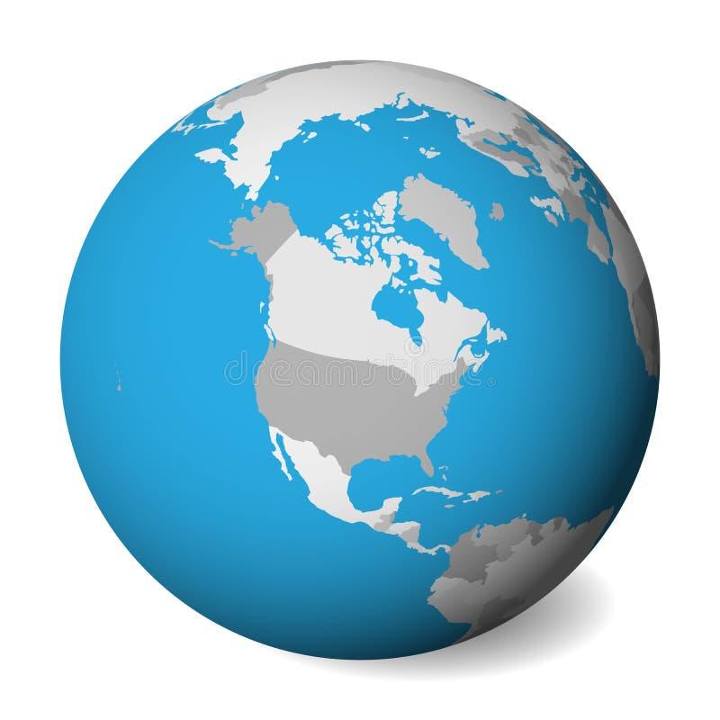 Mapa político vazio de America do Norte globo da terra 3D com água azul e terras cinzentas Ilustração do vetor ilustração stock