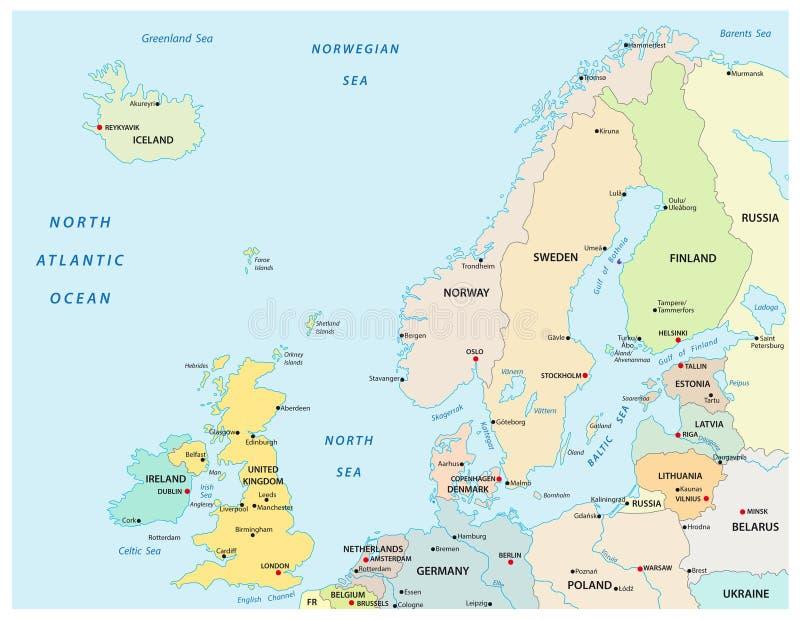 Mapa político y administrativo del vector de Europa del Norte con las fronteras de estado stock de ilustración