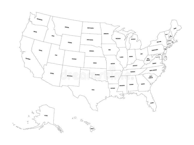 Mapa pol?tico do Estados Unidos od Am?rica, EUA Mapa preto liso simples do vetor do esbo?o com etiquetas pretas do nome do estado ilustração royalty free