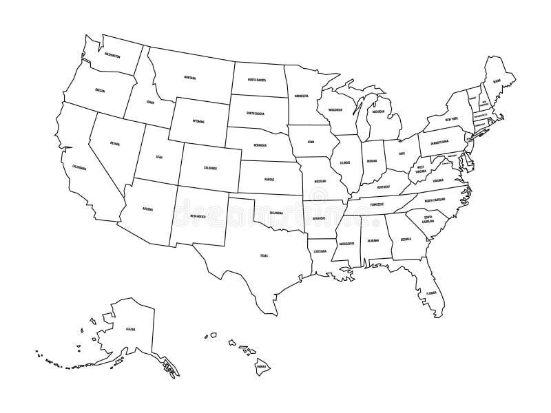 Mapa pol?tico do Estados Unidos od Am?rica, EUA Mapa preto liso simples do vetor do esbo?o com etiquetas pretas do nome do estado ilustração do vetor