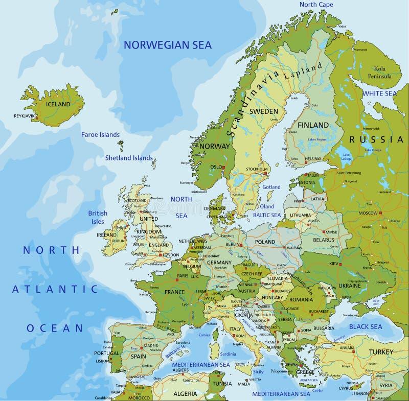 Mapa pol?tico editable altamente detallado de Europa stock de ilustración