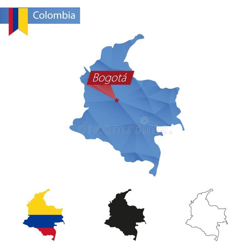 Mapa poli azul de Colômbia baixo com capital Bogotá ilustração stock