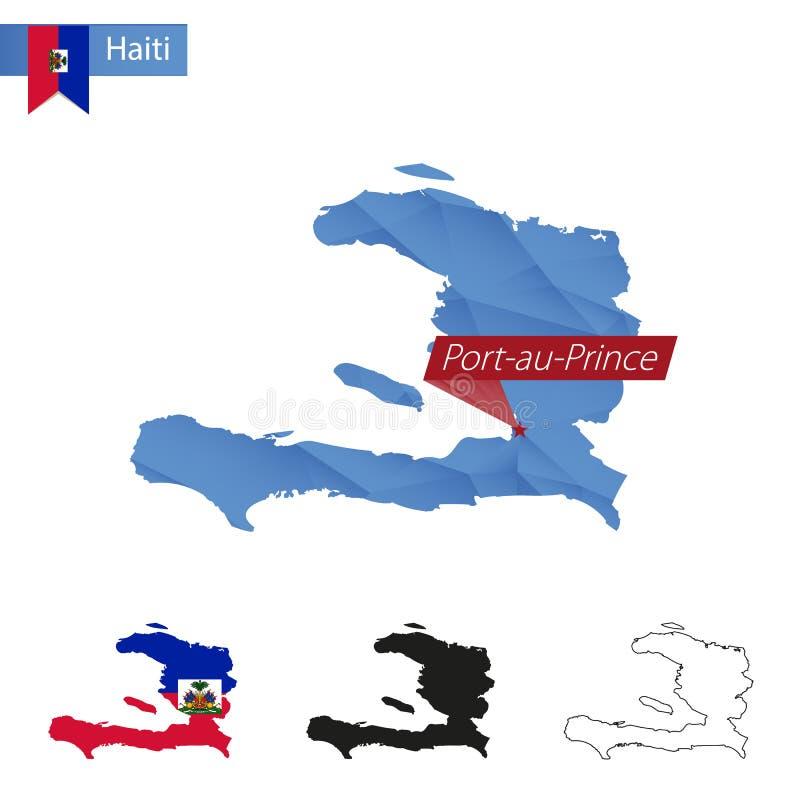 Mapa poli azul de Haiti baixo com Port-au-Prince principal ilustração royalty free