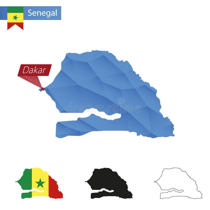 Mapa poli azul de Senegal baixo com capital Dacar ilustração royalty free