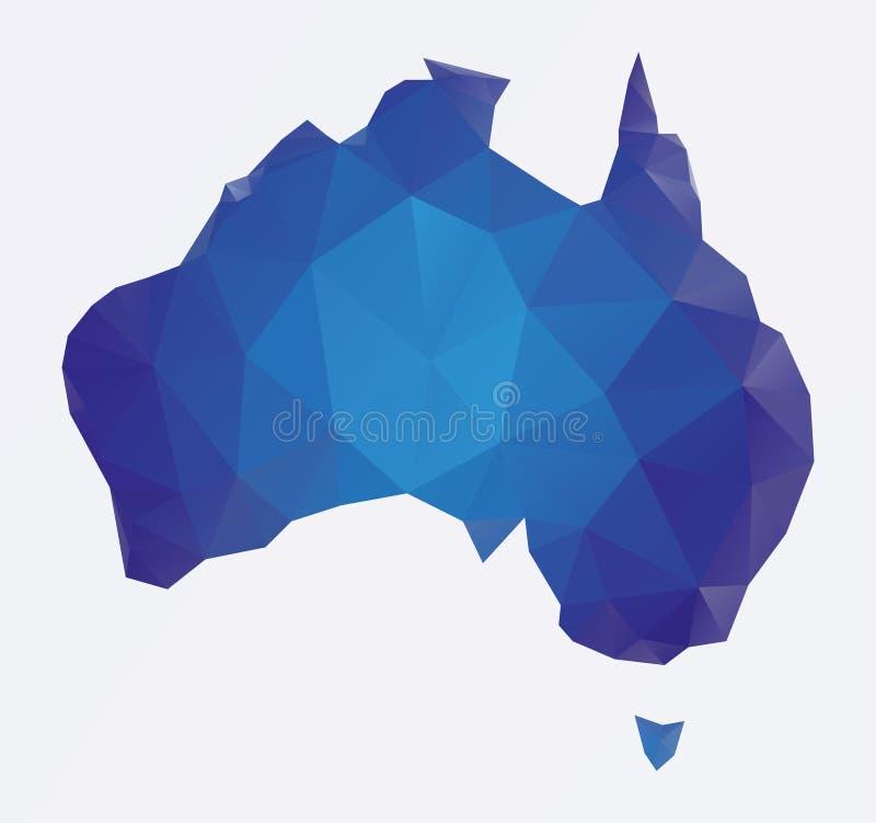 Mapa poligonal azul de Austrália ilustração royalty free