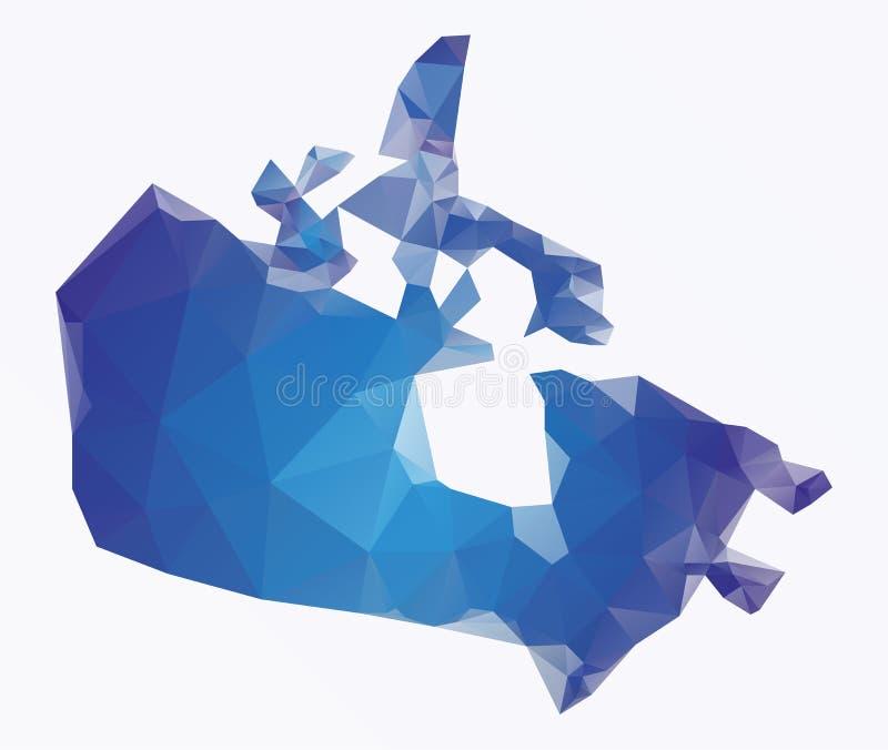 Mapa poligonal azul de Canadá ilustração stock