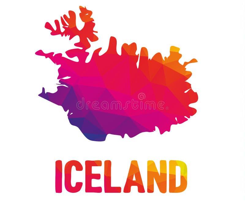 Mapa poligonal bajo del sland del  de à con la muestra del error tipográfico de Islandia libre illustration
