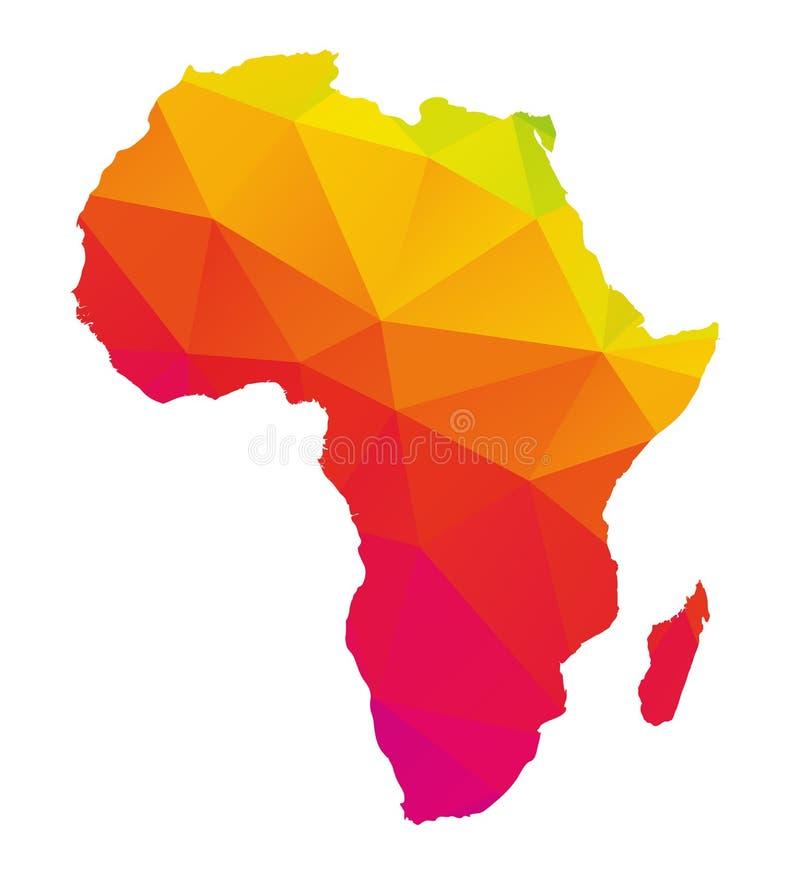 Mapa poligonal colorido de África com Madagáscar ilustração stock