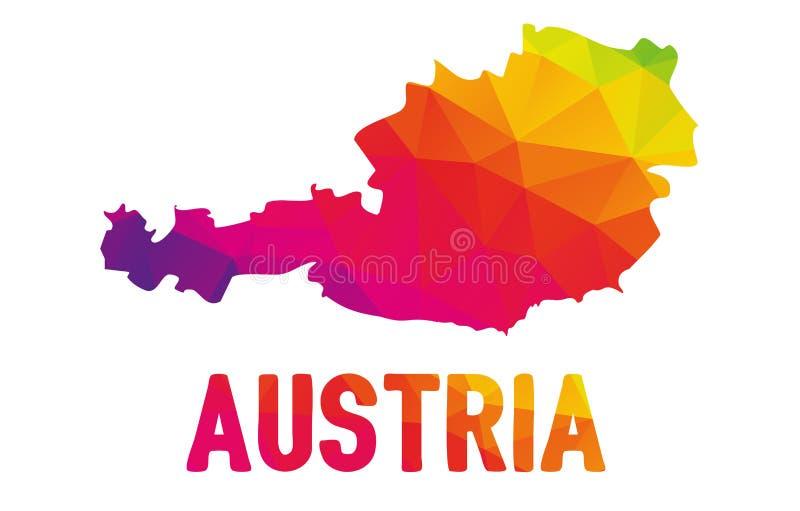 Mapa poligonal colorido de Áustria, isolado no branco ilustração stock