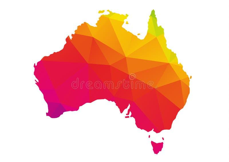 Mapa poligonal colorido de Austrália, isolado no branco ilustração do vetor