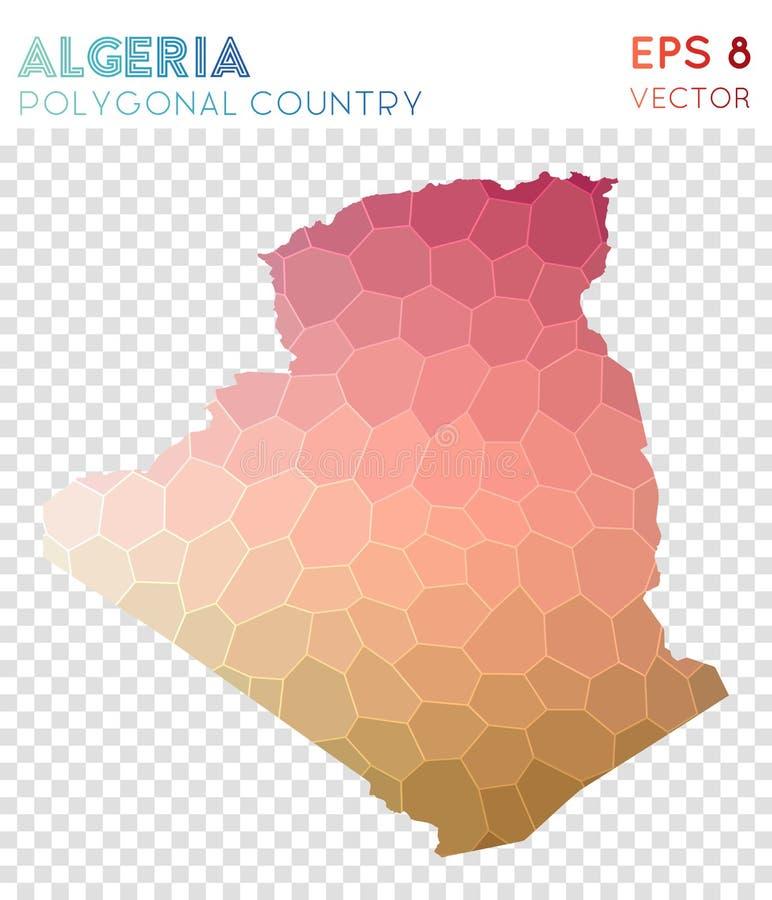 Mapa poligonal de Argélia, país do estilo do mosaico ilustração do vetor