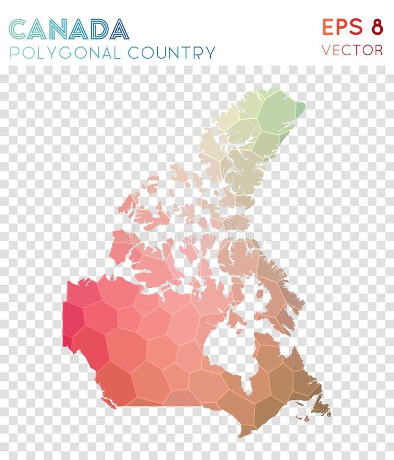 Mapa poligonal de Canadá, país do estilo do mosaico ilustração royalty free