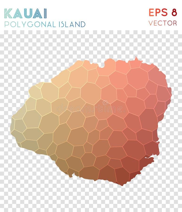 Mapa poligonal de Kauai, isla del estilo del mosaico stock de ilustración