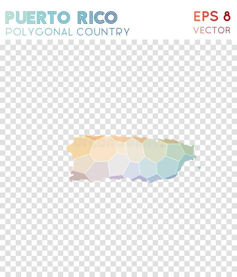 Mapa poligonal de Porto Rico, país do estilo do mosaico ilustração royalty free
