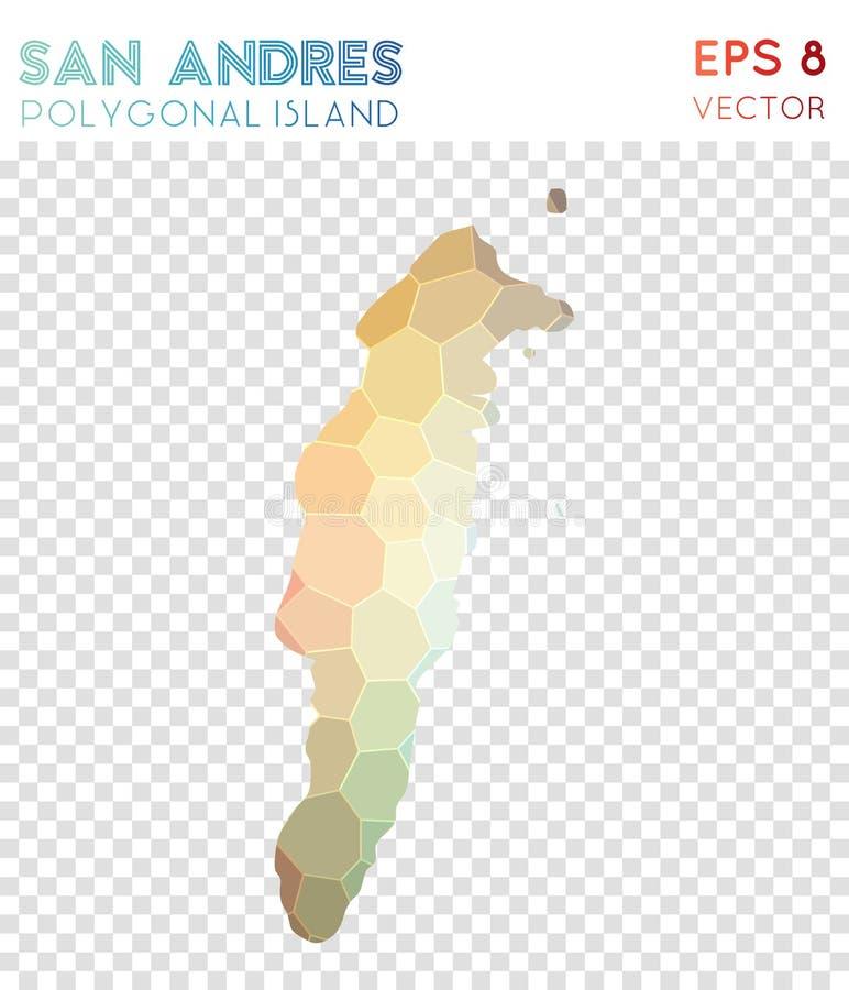 Mapa poligonal de San Andres, isla del estilo del mosaico stock de ilustración