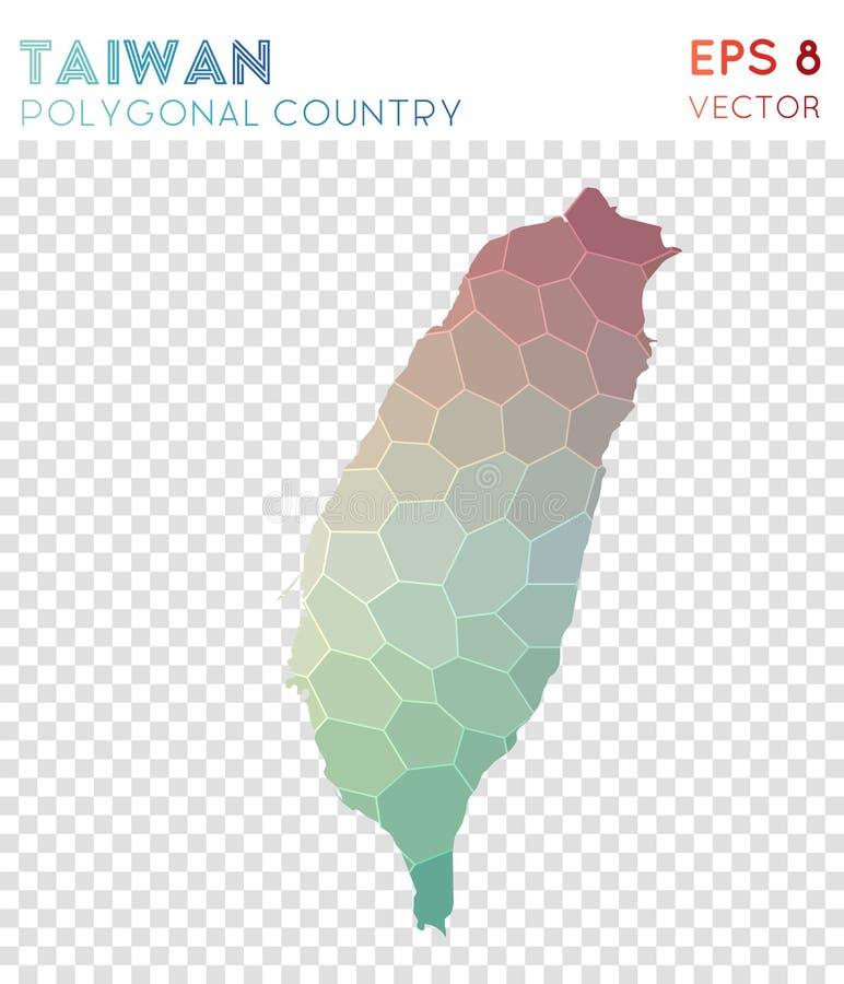 Mapa poligonal de Taiwán, país del estilo del mosaico libre illustration