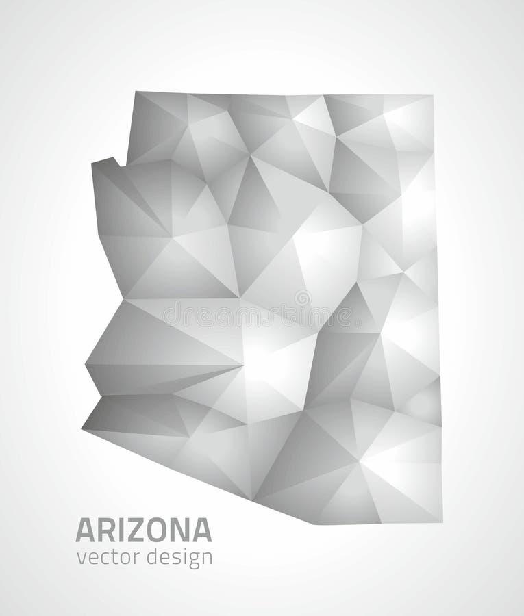 Mapa poligonal del mosaico 3d del vector gris y de plata de Arizona stock de ilustración