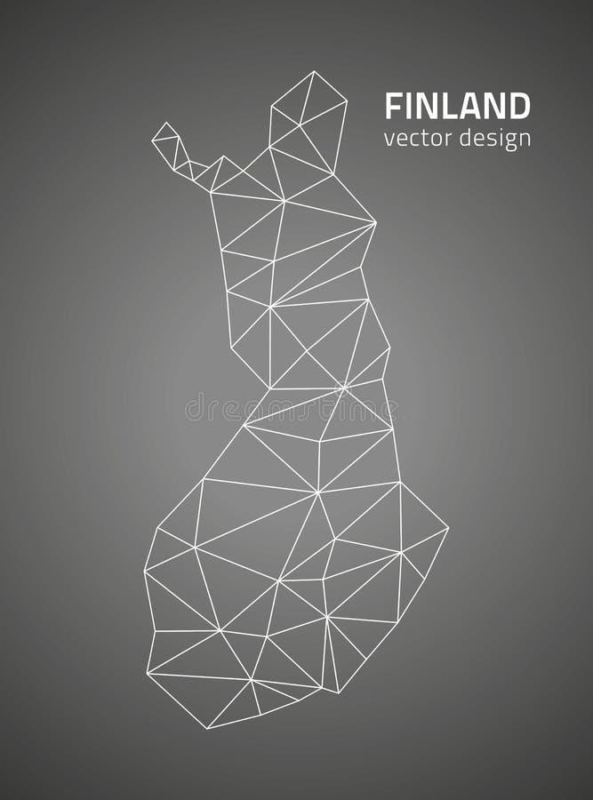 Mapa poligonal del negro de la perspectiva del triángulo del vector de Finlandia libre illustration